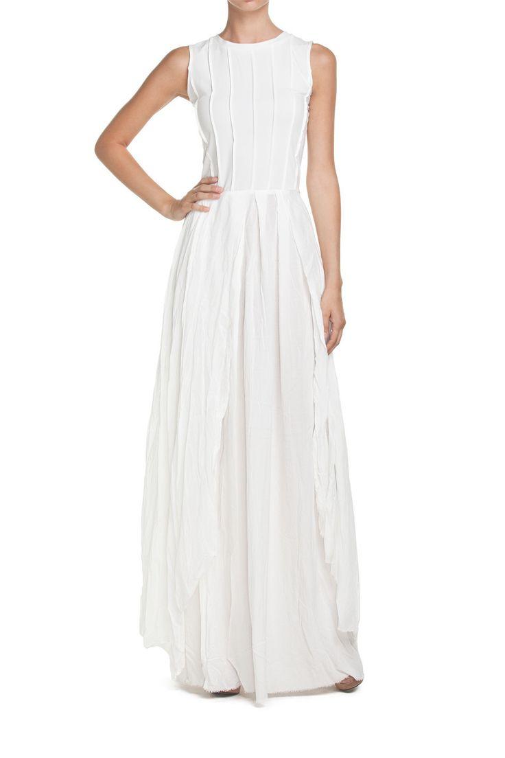 Suknia długa SENSES biała | Ubrania \ Sukienki \ Wieczorowe Ubrania \ Sukienki \ Maxi PROJEKTANCI \ Natasha Pavluchenko Ubrania \ Wszystkie ubrania Sukienki Wszystkie ubrania W tym tygodniu | MOSTRAMI.PL