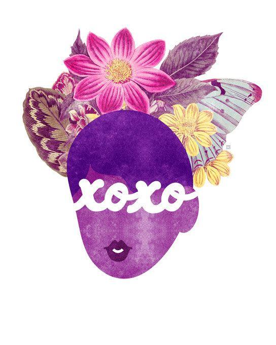 XOXO tipografia stampa, (baci e abbracci capelli naturali Valentine Illustration)