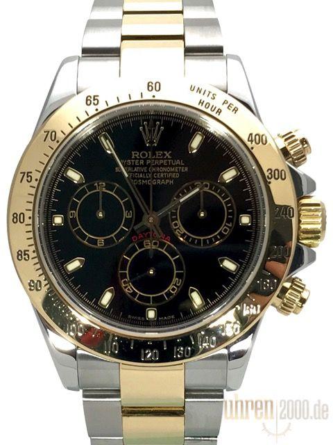 Rolex Daytona 40 Edelstahl Gelbgold 116523 Schwarz gebraucht aus 2005
