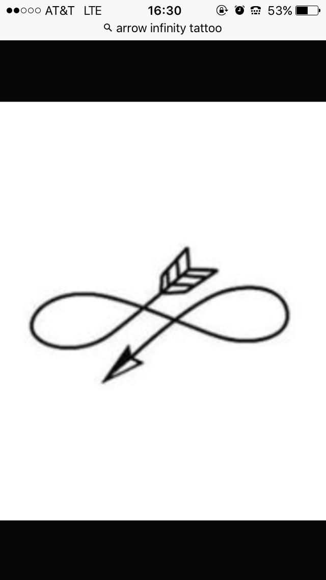 Infinity arrow, 2in. By 1in. , simple, white ink preferably, but can be black | Tattoo.com