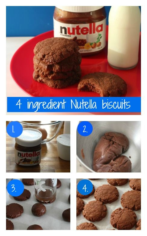 4 ingredient Nutella biscuits - 1 cup of Nutella, 1 cup of flour, 1 egg, and 1/2 cup caster sugar all mixed together with electric beaters, roll spoonfuls into balls and bake at 160 C (Fan Forced) for 12 mins - chewy and yummy