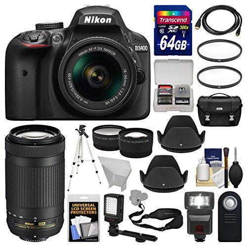 Nikon D3400 Digital SLR Camera & 18-55mm VR & 70-300mm DX AF-P Lenses with 64GB Card  Case  Flash  LED Video Light  Tripod  Tele/Wide Lens Kit