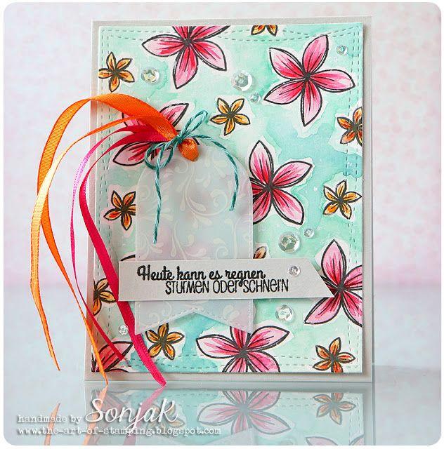 "Geburtstagskarte |birthday card - Create A Smile Stamps ""Kroküsse | Crokisses"", ""Ausflippen"", My Favorite Things ""Wonky Stitches Rectangles"", Mama Elephant ""Framed Tag Dies - Madison Avenue"", Kuretake Gansai Tambi, Pretty Pink Posh sequins"