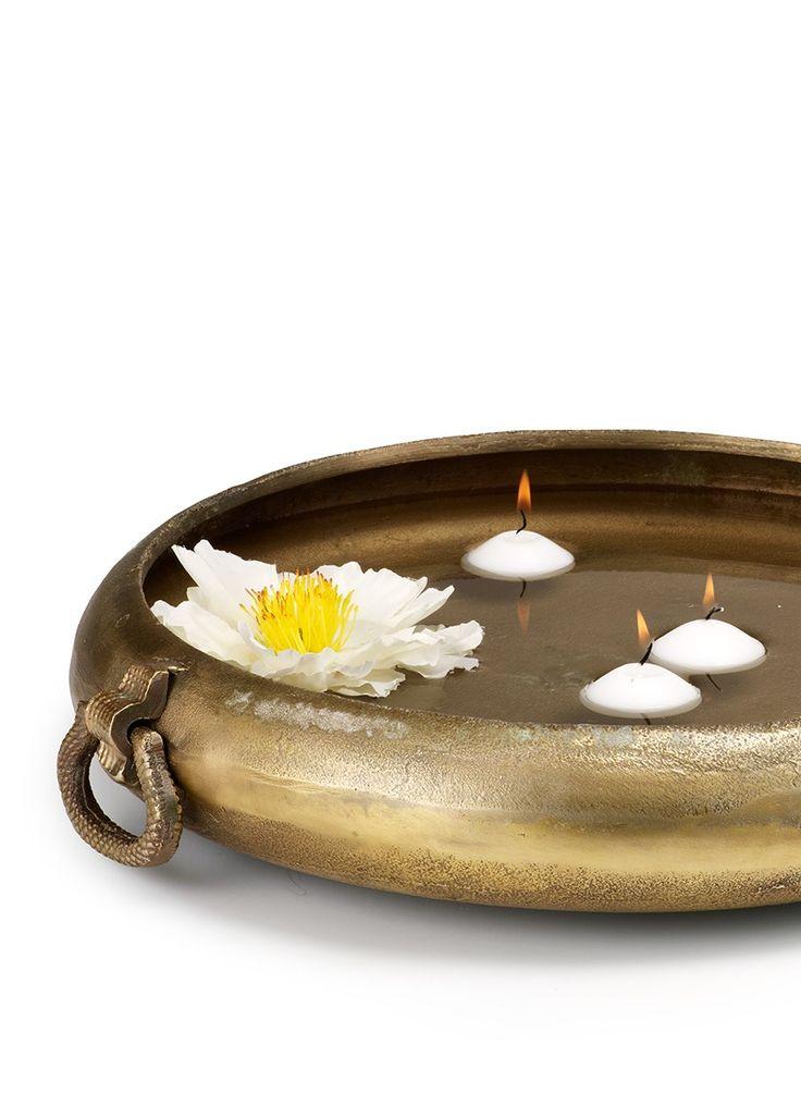 Antique brass handi traditional Indian bowl wedding reception table centerpieces floating candles flowers DIY bride groom bulk florist supplies decor