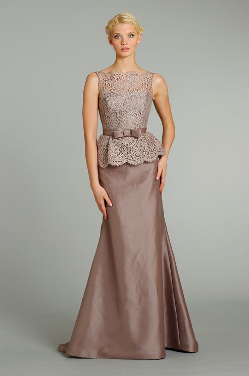 A peplum dress for a bride, mother of the bride, or bridesmaid from Lazaro, Fall 2012 Love this color wonder if it comes in knee length?