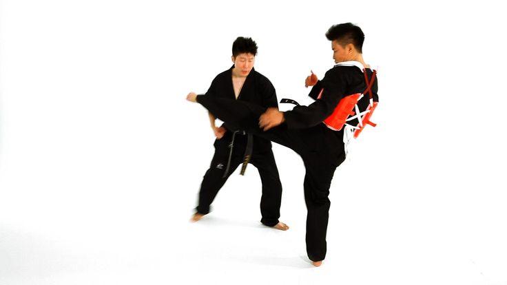 Watch more How to Do Taekwondo videos: http://www.howcast.com/videos/508758-How-to-Do-Clinch-Technique-1-Taekwondo-Training Learn how to do taekwondo sideste...