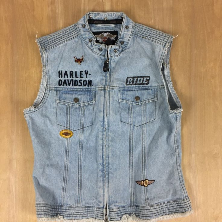Harley Davidson Womens Zip Up Denim Vest Stud Patch Cut Off Jean Top Size Small #HarleyDavidson #Vest #Casual