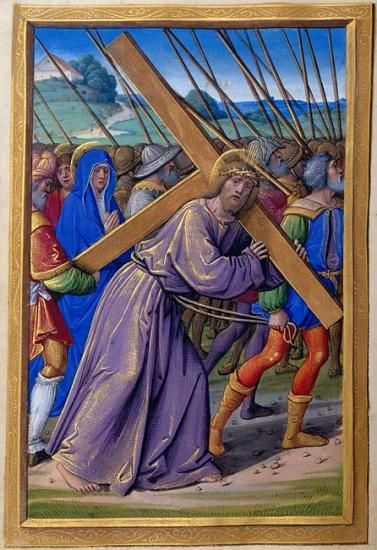 Hours of the Cross: Christ Carrying the Cross | Fol. 94v | The Morgan Library & Museum