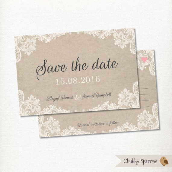 This beautiful lace and linen wedding save the date postcard features delicate vintage lace on a linen background. The reverse of the card has an