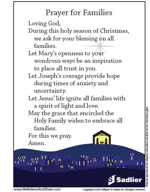 The feast of the Holy Family, usually celebrated on the Sunday following Christmas, marks a time to honor these three flesh-and-blood figures of faith and promise.   Download a Prayer for Families and use it in your home or classroom!