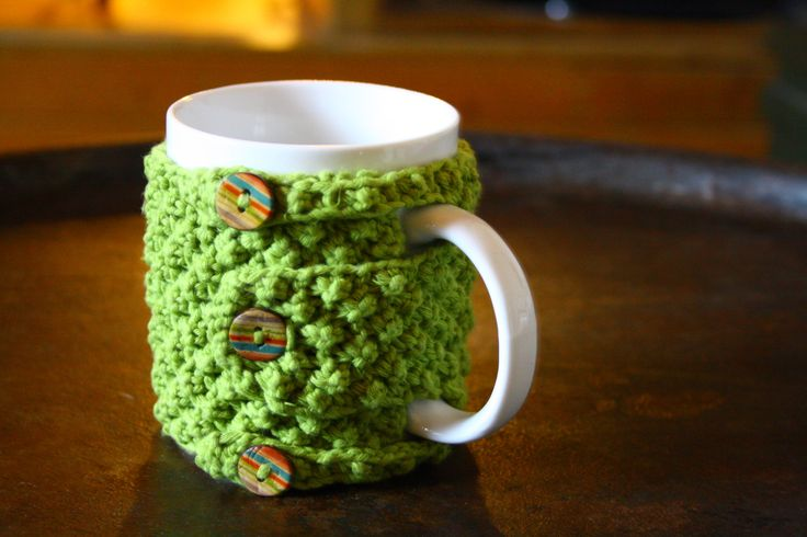 ★★Original★★ Cache-mug en coton vert : Accessoires de maison par au-fil-de-la-laine