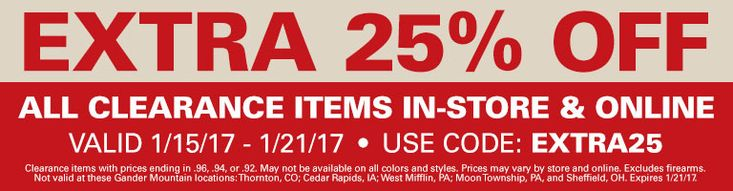 """Gander Mountain takes an extra 25% off clearance apparel, shoes, sporting goods, and more via coupon code """"EXTRA25"""". Shipping adds $4.99, or..."""