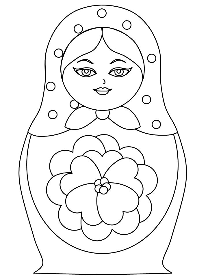 Template Coloring Pages Russian Nesting Dolls