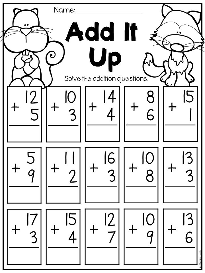 Fall Math and Literacy Worksheet Pack First Grade 1st