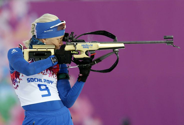 DAY 11:  Kaisa Makarainen of Finland competes during Biathlon Women's 12.5km Mass Start http://sports.yahoo.com/olympics