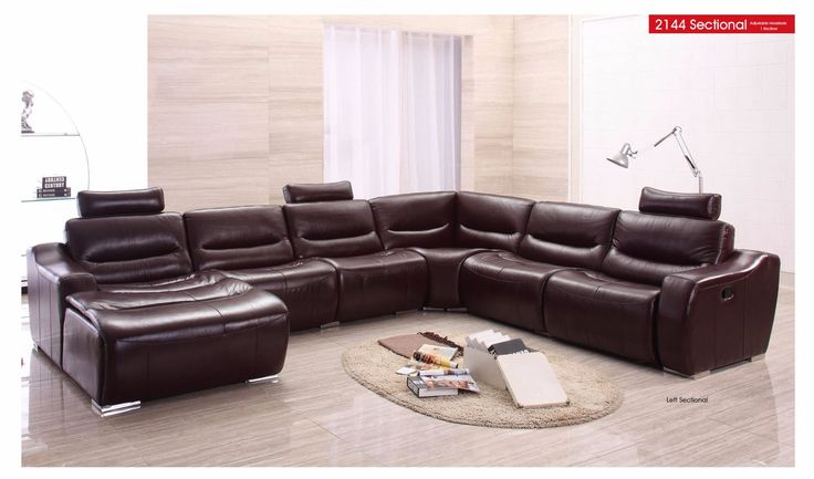 ESF Right Sectional Sofa w/ Recliner 2144Description : This sectional will perfectly accommodate any contemporary living room setting providing comfort to you and your friends. The sectional sofa with recliner features 1 reclining seat and head rests. Variety of colors available for special ordering.Materials:Brown FinishGenuine Italian LeatherDurable ConstructionAdjustable HeadrestsReclinerDimensions: Sectional Right Sofa : W 117/46 x D37/40 x H 37              (Swatches : See leather…