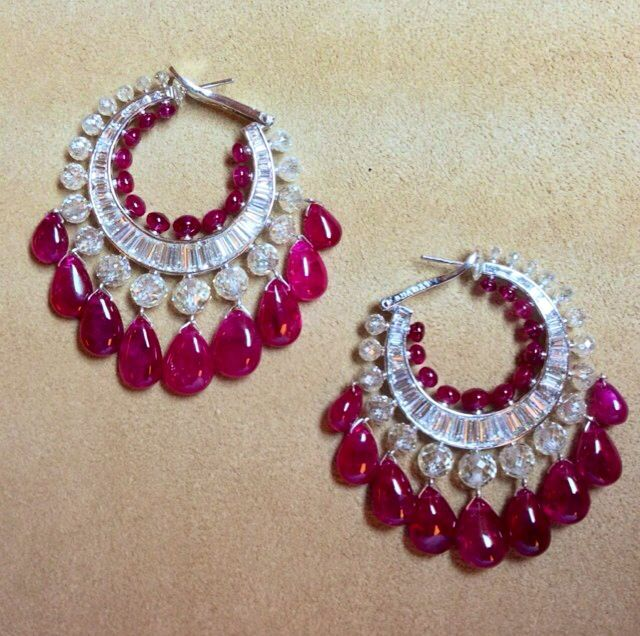 http://rubies.work/0667-ruby-rings/ Viren Bhagat loop earrings #IndianJewellery #OnlineShopping