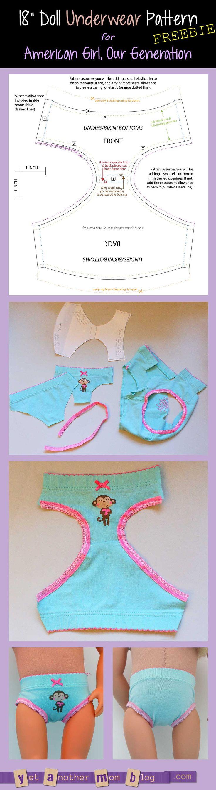 American Girl/Our Generation Doll underwear pattern freebie - shrink for Blythe