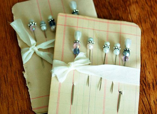 """Aha, you use """"corsage pins"""" found on the wedding aisle of your craft store for those cute stickpin/hatpins that I keep seeing everywhere!"""