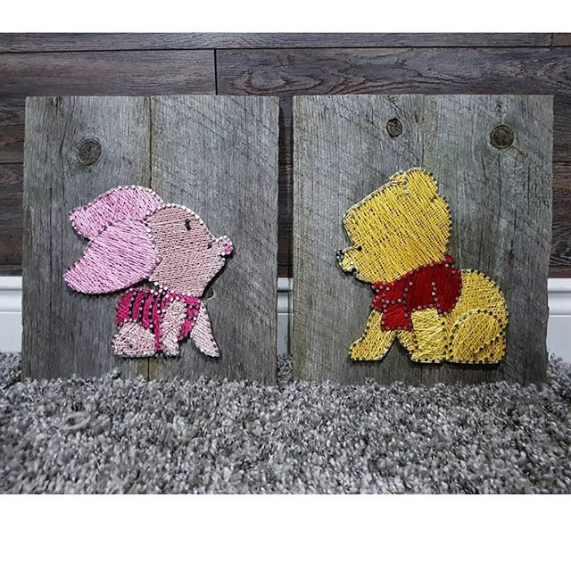 Winnie the pooh and piglet   #newlove #dreamcatchersbykelsie #sunflower #tractor #spring #stringart #crafts #summer #barnboard #handmade #homedecor #country #rustic #custom #hockey #mapleleafs #concessionstreetfest #pineapple #youaremysunshine #crystals #winniethepooh #piglet #nursery