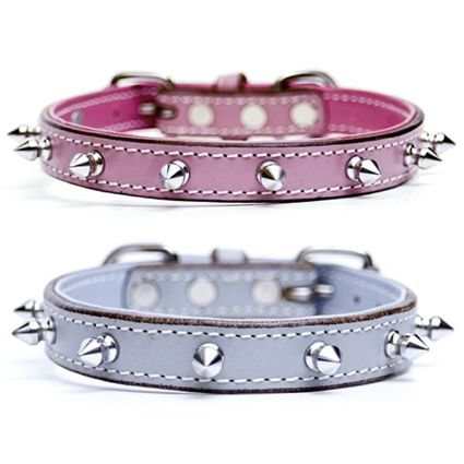 Spiked dog collars for small dogs and puppies made of top quality cow leather.