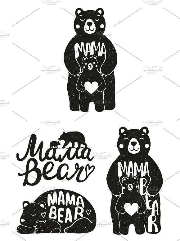 Mama Bear Set Mama Bear Bear Design Greeting Card Art