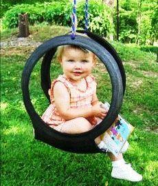 houpačka, pneumatika recyklace, jak vyrobit houpačku, dětská houpačka návod, staré gumy, houpačka pro děti