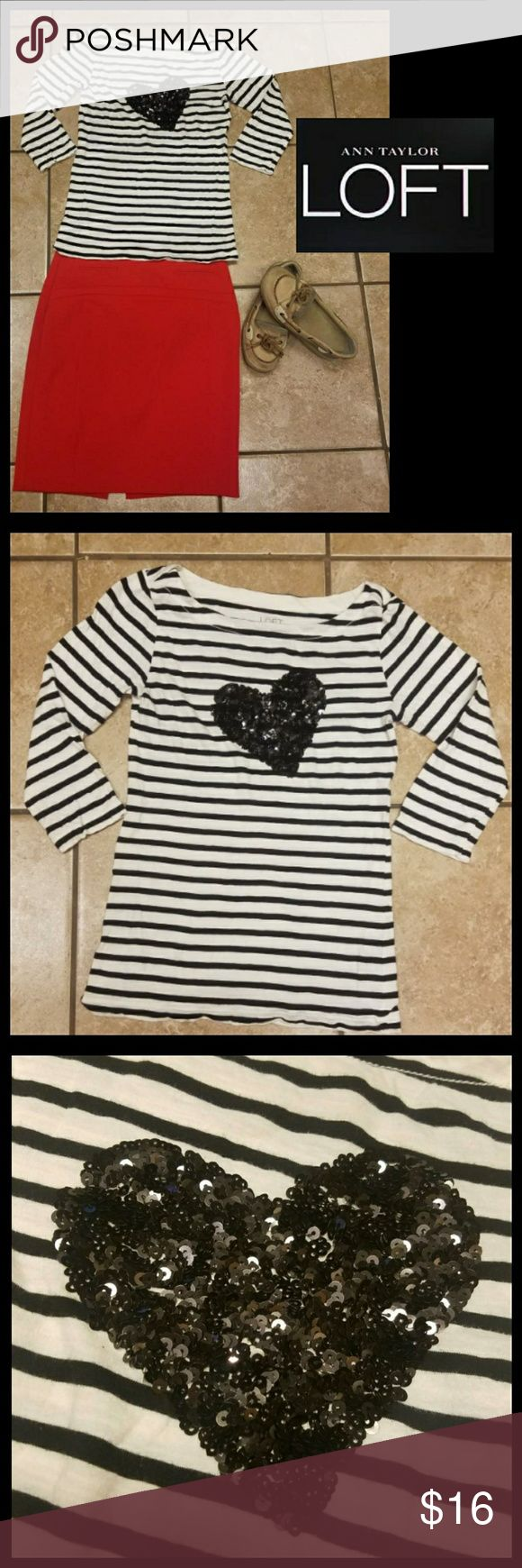 ❤ANNE TAYLOR LOFT~XS❤ Stylish & youthful, this Anne Taylor LOFT top is an easy choice for one's wardrobe.  Size XS. White with black stripes & sequin heart. Elbow length sleeves. A perfect top for autumn. Super soft with lots of stretch. Excellent, preloved condition. Although this is for the top only, the additional items pictured will also be available for purchase in my closet. Be sure to stop in & browse for other great deals on name brands and bundle to save even more.  God bless! LOFT…