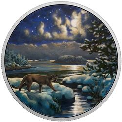 2017 $30 animals in the moonlight: cougar - glow-in-the-dark pure silver coin.