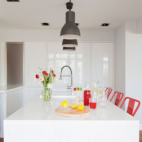 White modern kitchen with handleless cabinetry   Decorating   housetohome.co.uk