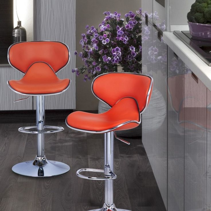 Furnistar Bareneed Orange Modern Bar Stools with Backs (Set of two). This set of two modern orange bar stools is sure to be the envy of all your friends. Sip your drink in style perched on a curved-back cushioned chair with chrome accents. This comfy seat is supported by a chrome-finished adjustable base that is easily raised and lowered with a lever under the seat. The leatherette material is easy to wipe clean of spills and is a classy addition to your dining room or living room. Choose…