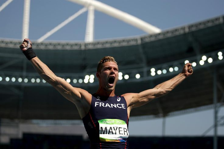 Kévin Mayer of France is delighted with one of his efforts on his way to a surprise Silver Medal in the Decathlon during the Rio 2016 Olympic Games.