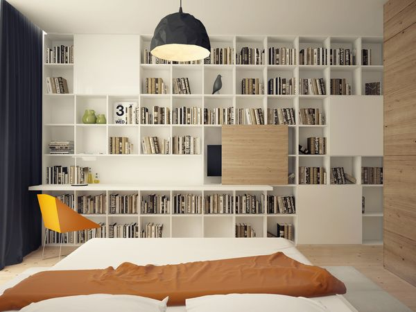 Eye-Catching Pop of Color Idea for Your Minimalist Residence: Amazing Bedroom Design Completed With White Large Bookshelf Furniture Combined...