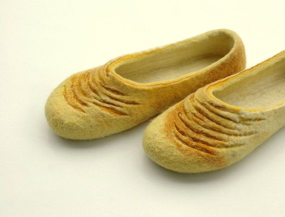 FELTED SLIPPERS Yellow Yellow Women home shoes by JurgaFeltLife