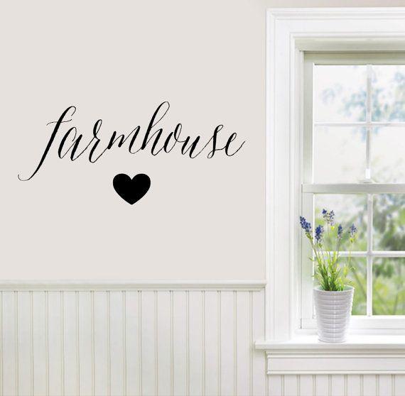 Farmhouse love Wall Decal with heart. Farmhouse Vinyl Decal. Kitchen decor. Rustic Wall Art Decor. Farmhouse Wall Decor