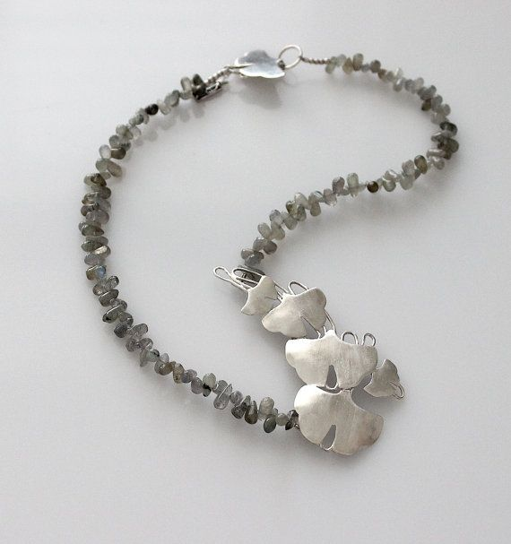 Sterling Silver Necklace - Collar - Floral - Labradorite - Assymetrical - Gingko -Handmade  - Fine Jewelry