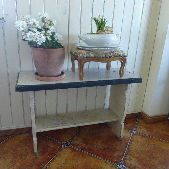 Vintage ławka Biała Szafka Małe Krzesło Taboret Krzesło