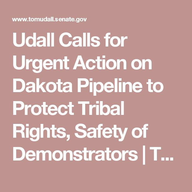 Udall Calls for Urgent Action on Dakota Pipeline to Protect Tribal Rights, Safety of Demonstrators | Tom Udall | Senator for New Mexico