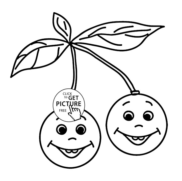 Cherries Smiling Fruit Coloring Page For Kids Fruits Pages Printables Free