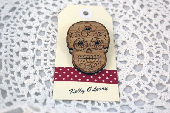 Bamboo Wood Skull Brooch