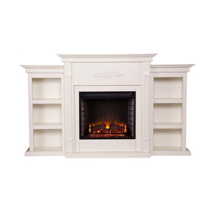 Southern Enterprises Jackson 70.25 in. Freestanding Media Electric Fireplace with Bookcases in Ivory