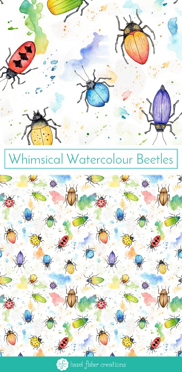 My Entry to Spoonflowers Whimsical Watercolour Insects Challenge by Hazel Fisher Creations. Watercolour and pen illustrations. Surface Pattern Design Fabric Design.