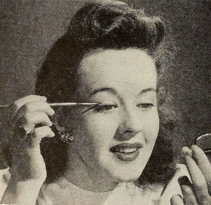 Want to Know a Secret? – 1941 Eye Shadow Tips. Try applying eye-shadow with a soft artist's brush to get the subtle effect of the stars.  #mascara #1940s #vintagemakeup