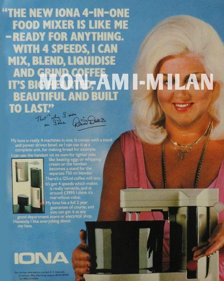 1984 Paper Ad DIANA DORS Advertising IONA 4-IN-ONE FOOD MIXER  Read Description