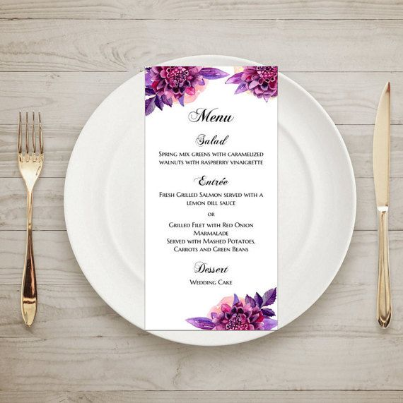 Purple wedding menu template Floral menu cards by CardsForWedding