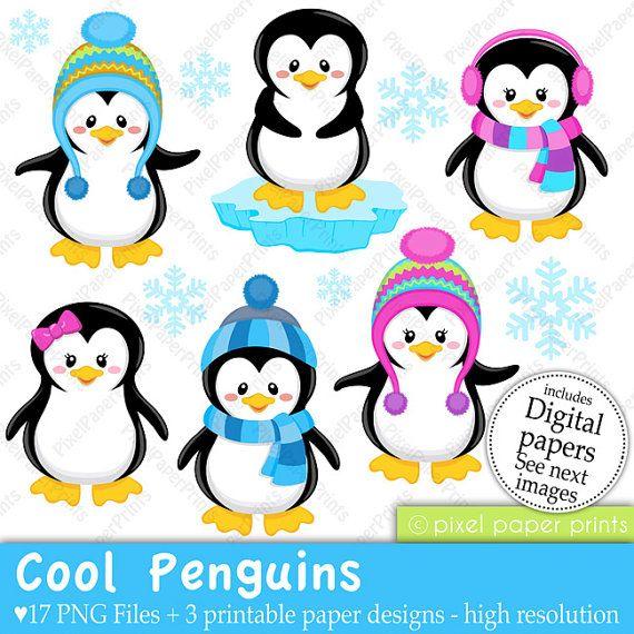 Cool Penguins - Clip art and Digital paper set - Penguin clipart