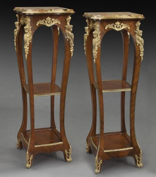 Pr. tall French marble top plant stands with : Lot 250