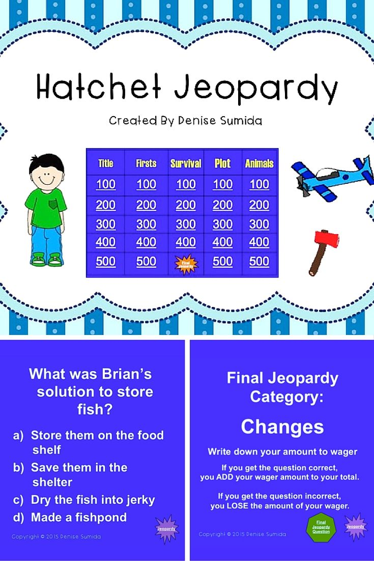 """Powerpoint Jeopardy game to play with students in grades 4-6. Based on Gary Paulsen's book, """"Hatchet."""" This is a great way to end a novel study or review key concepts from the book. For similar jeopardy games go to https://www.teacherspayteachers.com/Store/Reading-Under-The-Hula-Moon"""