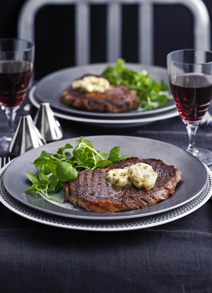 Rib-eye with dirty martini butter: Olives and olive brine are what make a martini 'dirty'. Whipped into butter they go particularly well with a good piece of steak, for example rib-eye. Use vodka for a cleaner flavour or gin for a botanical edge.