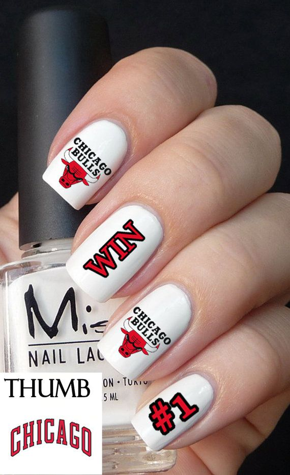 Chicago Bulls Basketball Nail Decals by DesignerNails on Etsy, $4.00